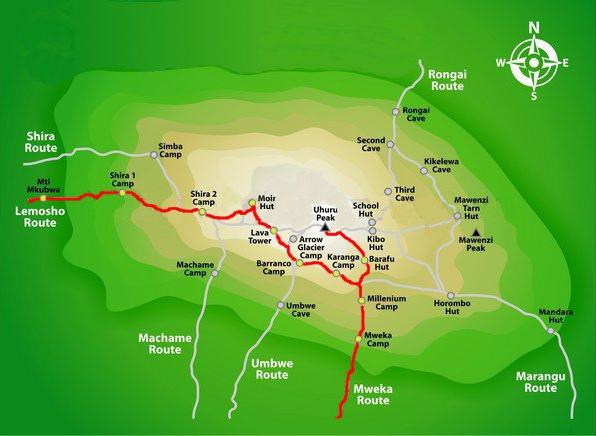 Lemosho Route Map
