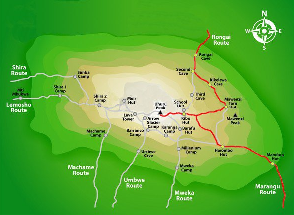 Rongai Route Map