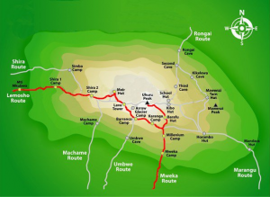 Lemosho Route Map