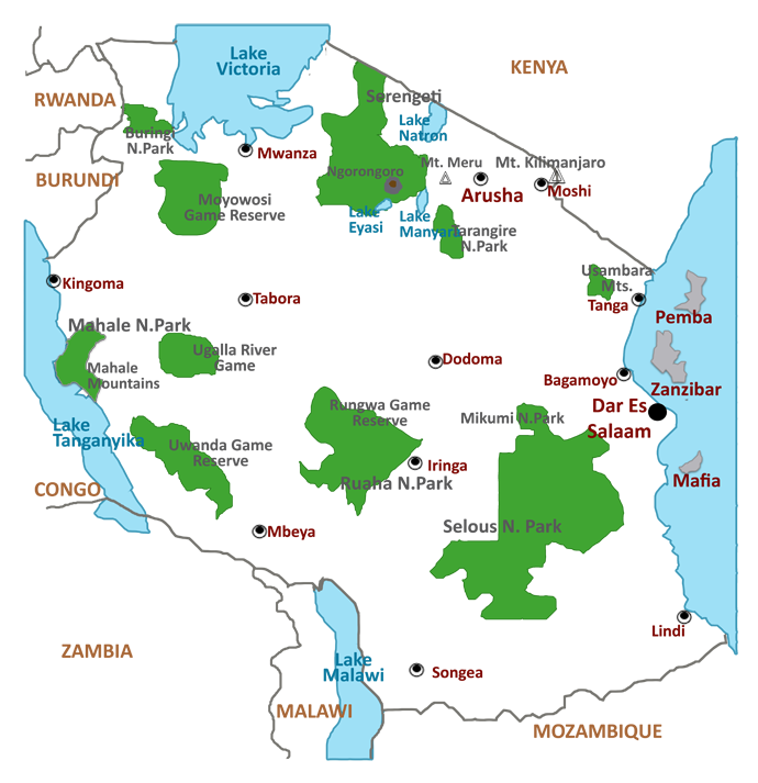 <b>Tourist</b>-<b>Map</b>-<b>of-Tanzania</b>